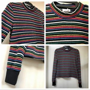 Eyeshadow Multicolored Striped Long Sleeve Cropped